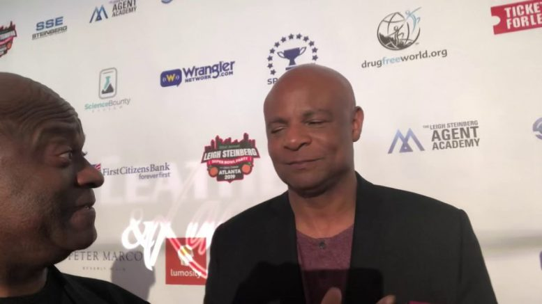 Warren Moon Talks Rams vs Pats At Steinberg Super Bowl Party Atlanta