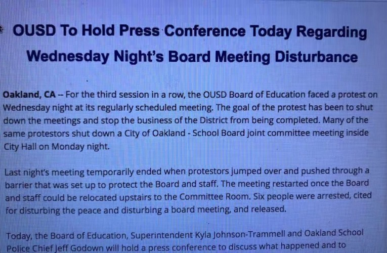 OUSD To Hold Press Conference On Wednesday Night's Board Meeting Disturbance