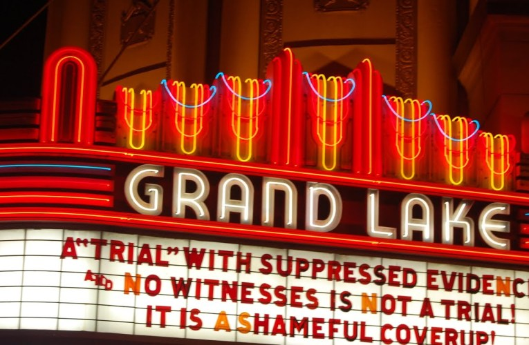 "Grand Lake Theater Oakland Marquee Blasts Trump Impeachment Senate Trial ""Coverup"""