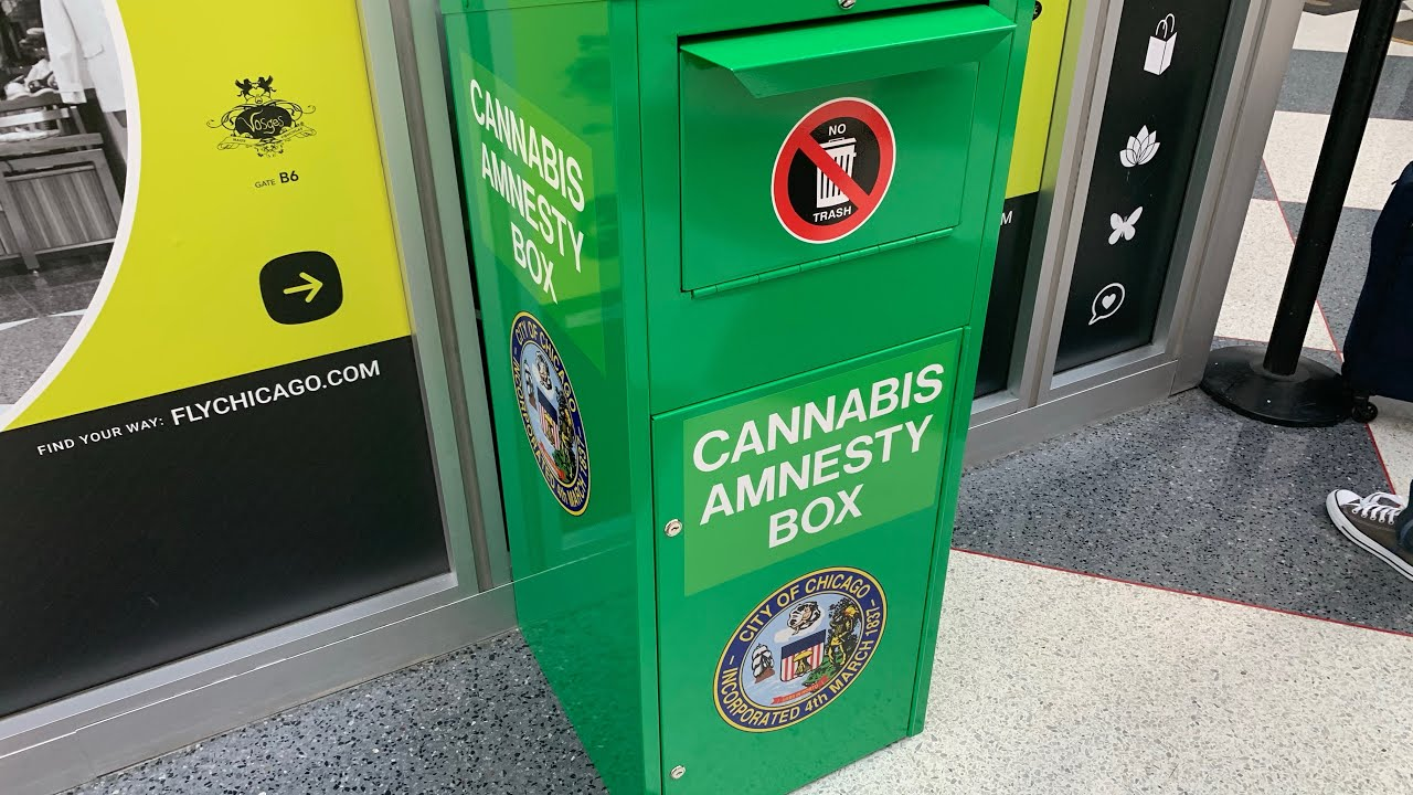 """""""cannabis Amnesty Box"""" Let's You Dump Your Weed At Chicago O'hare Airport United Airlines Terminal"""