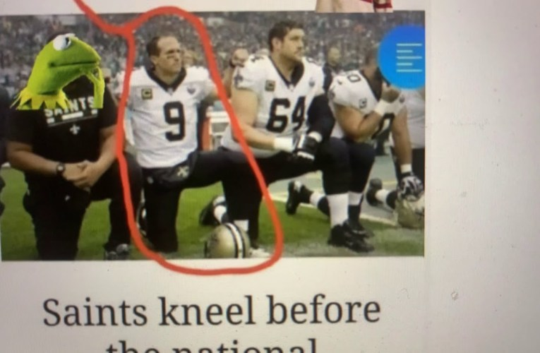 Drew Brees Says It's Disrespectful To Kneel During The Anthem But Is Seen Here Doing Just That