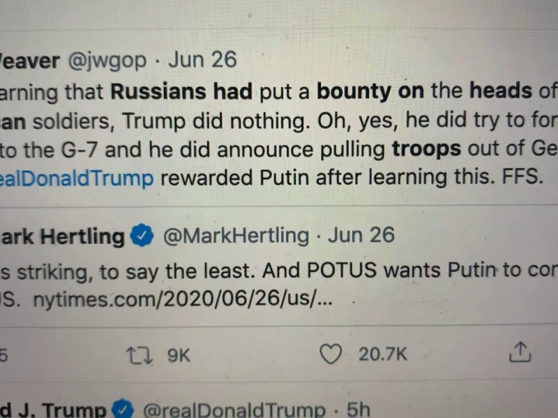Trump Retweet Of The Villages White Power Video Attempt To Hide POTUS Knew Russian Bounty On Troops