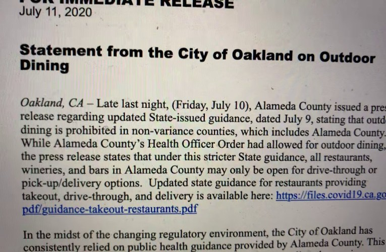 City Of Oakland Confused About Alameda County Outdoor Dining Update, Suspends Oakland Flex Streets