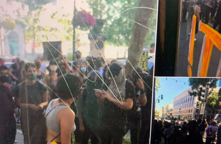 UME Yoga Downtown Oakland Windows Smashed During Black Lives Matter Protest On 4th Of July