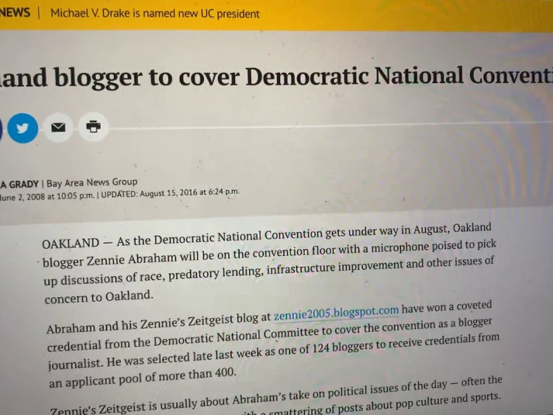 Zennie Abraham One Of 1st Bloggers To Cover 2008 Democratic National Convention: Google Covers It Up