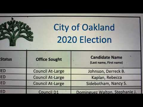 Oakland Elections 2020, City Council, OUSD School Board, Who Qualilfied For The Ballot, Who Didn't