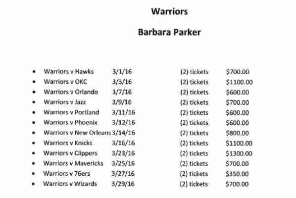 Barbara Parker Gsw Tickets