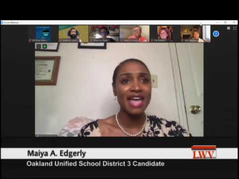 Nov 2020 Oakland Election: Candidate Forum OUSD District 3