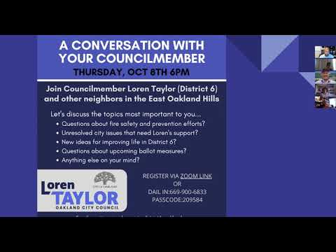 Conversation With Your Councilmember Loren Taylor – Oakland District 6 – EastOaklandHills 10.8.20