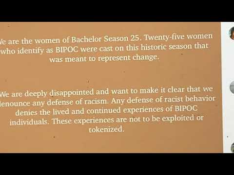 A Statement Denouncing Racism By The Women Of Bachelor Season 25 2021