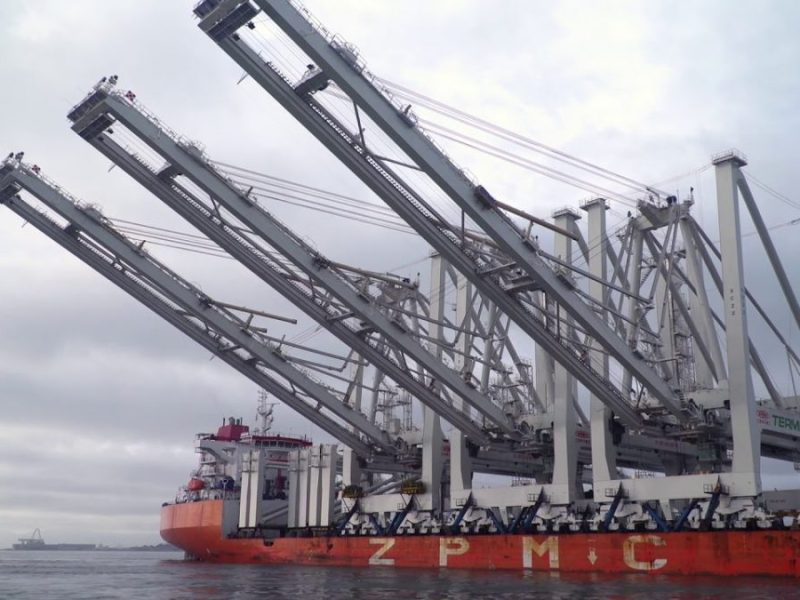Drone Video of Port Of Oakland's Tallest Cranes Arriving In Town