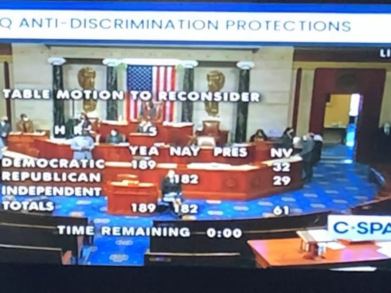 Equality Act Prohibiting LGBTQ Discrimination Passes 224 – 206 With Three Republicans Joining Dems
