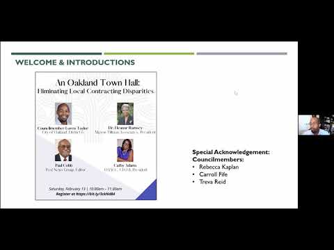 Oakland Councilmember Loren Taylor's Town Hall : Eliminating Local Contracting Disparities