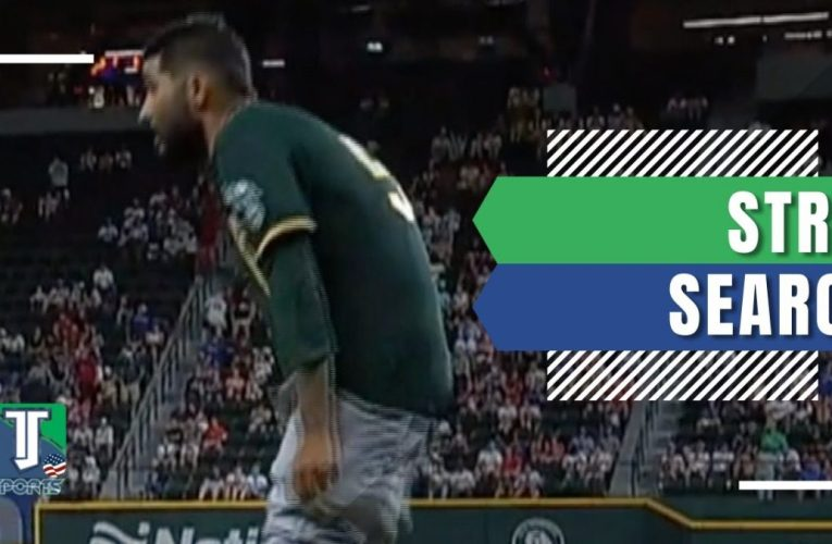 Oakland A's PITCHER Sergio Romo drops his PANTS during inspection by umpire for FOREIGN substances