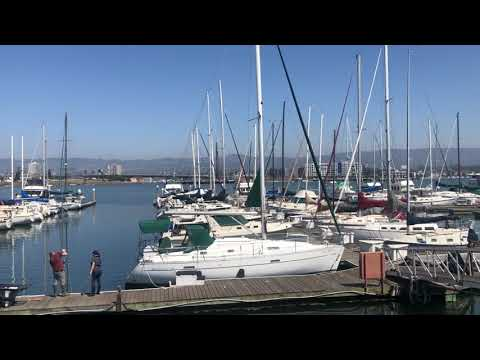 View of the Oakland estuary from the Oakland Yacht Club in Alameda