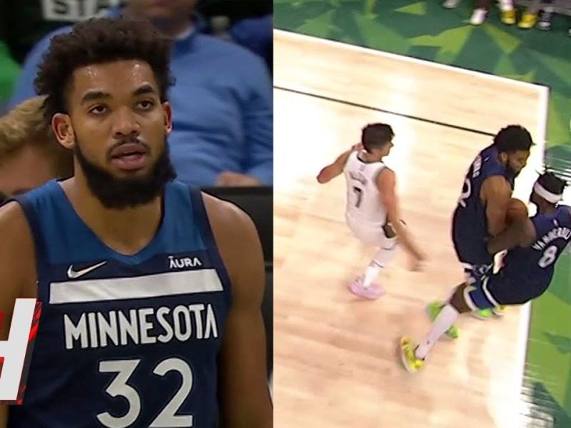 Karl-Anthony Towns Angry after His Own Teammate Bumps into Him for the Rebound