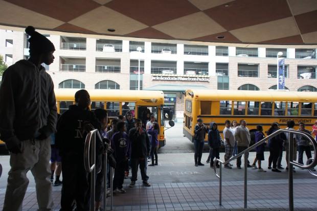 "Oakland school kids prepare to head into Jack London Cinema to view ""Bully."""