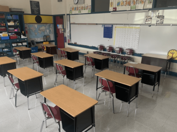 elementary school classroom with spread out desks