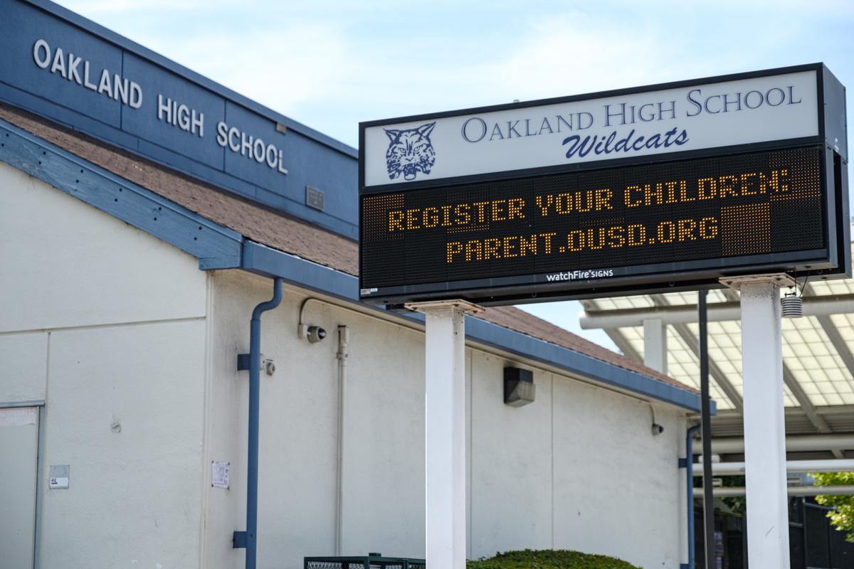 marquee outside oakland high school