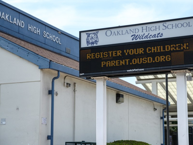 marquee outside oakland high school