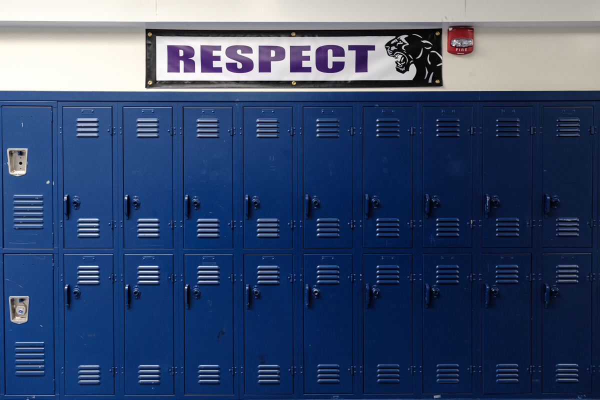 a row of lockers in West Oakland Middle School
