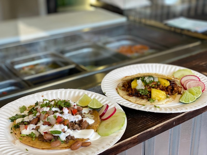 A super taco and mulita from Taco and Co in Berkeley. Photo: Sarah Han