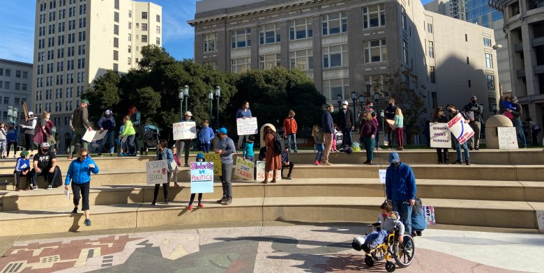 parents at rally in frank ogawa plaza