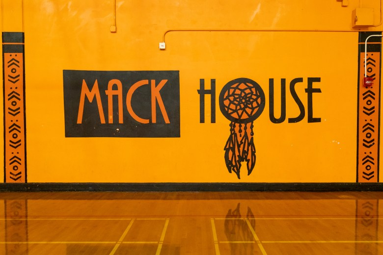 """Mack House"" Warrior mascot painting on the gym wall for McClymonds High School in Oakland, California"