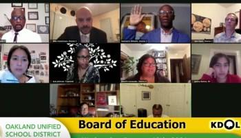screenshot of Oakland Unified School District virtual board meeting