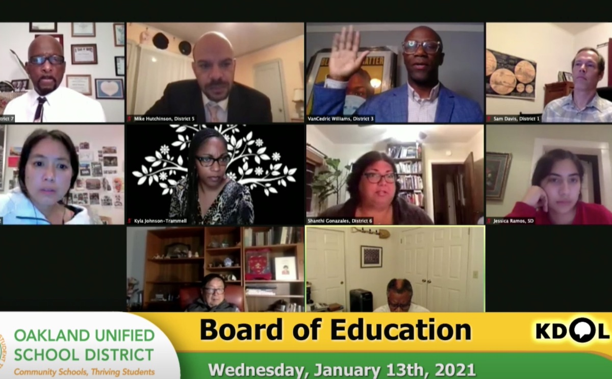 screenshot of Oakland Unified School District virtual board meeting