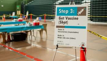 COVID-19 vaccine site at Fremont High School.