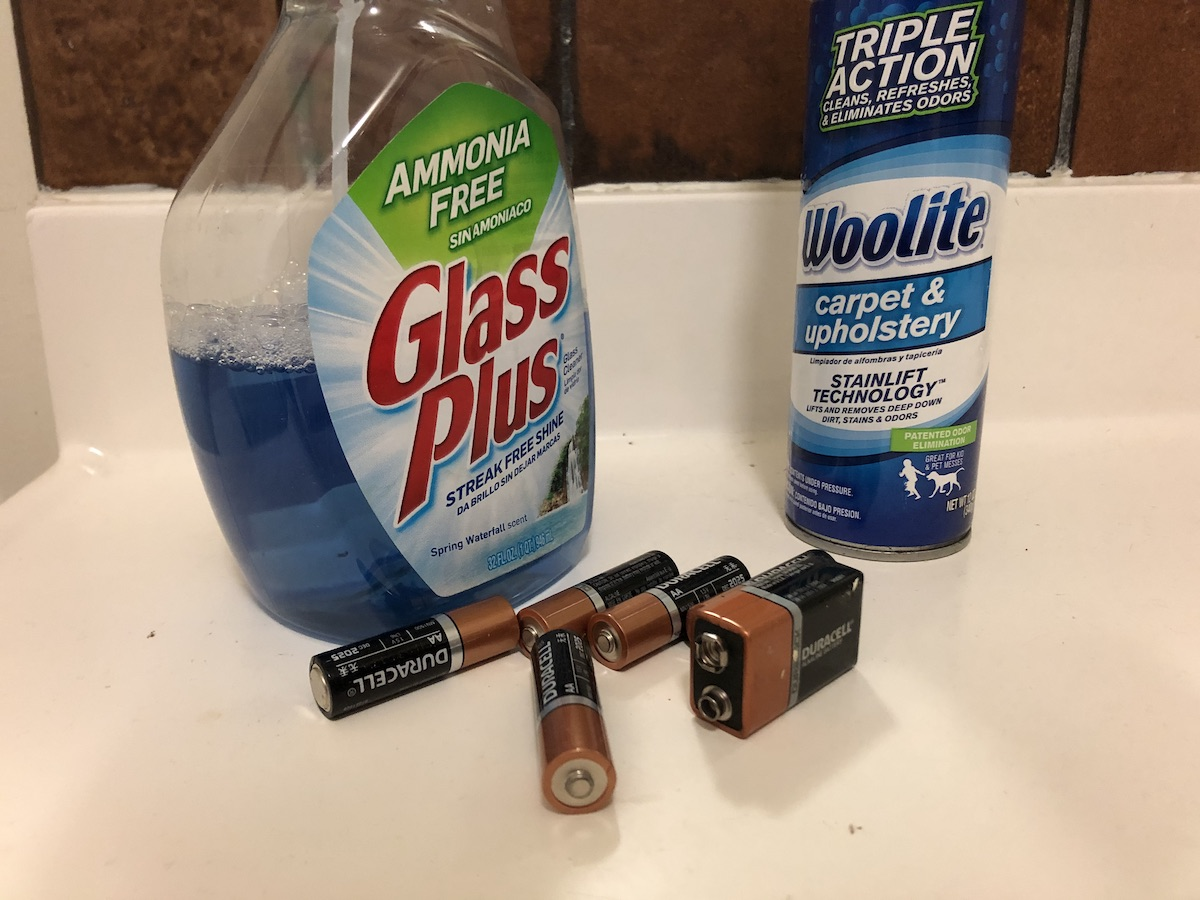 cleaning products and batteries