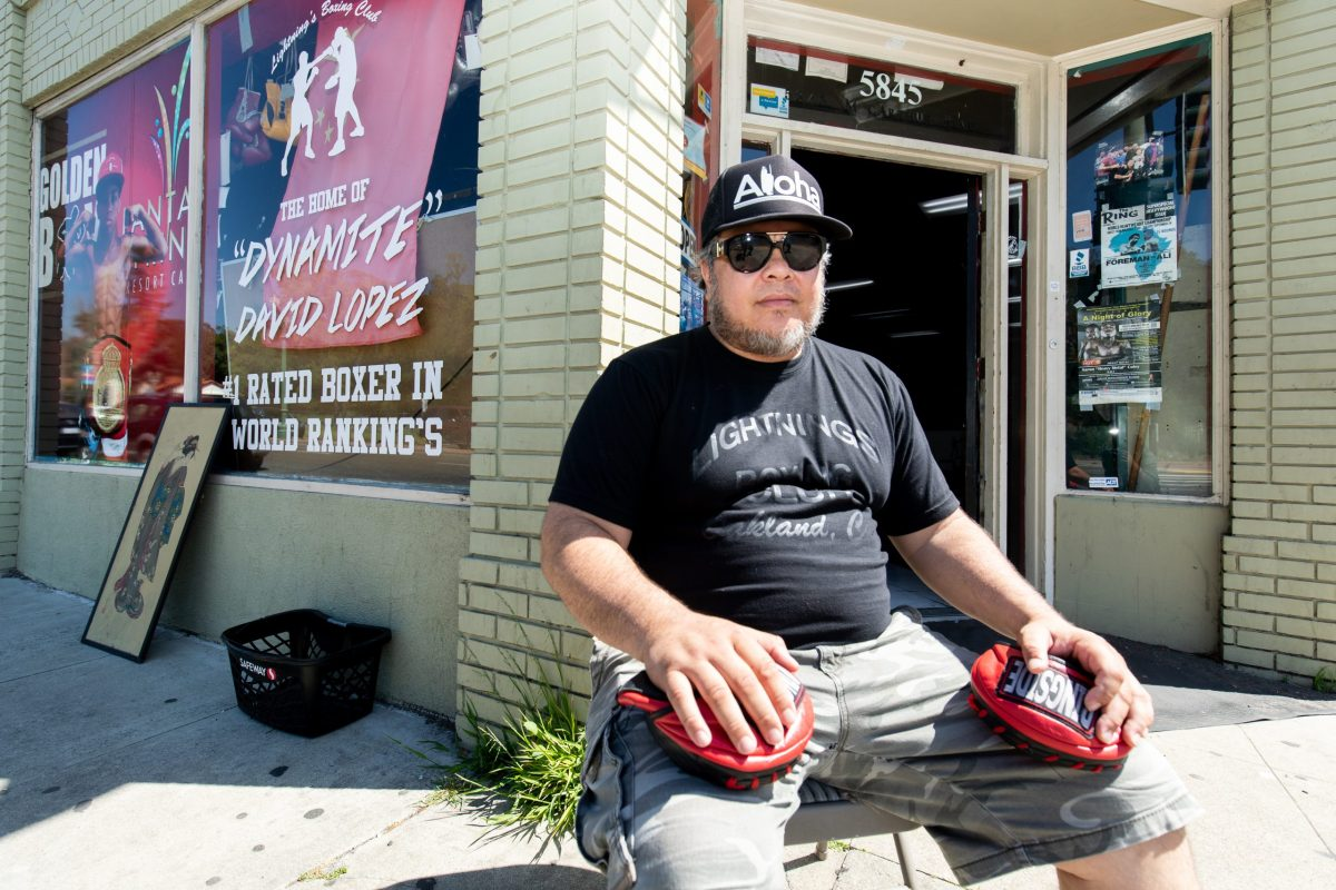 """Kris """"Lightning"""" Lopez at his boxing gym, Lightning Lopez Boxing Club in East Oakland."""