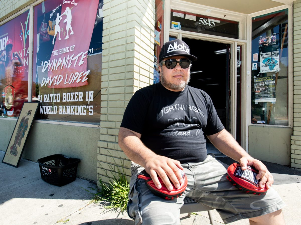 "Kris ""Lightning"" Lopez at his boxing gym, Lightning Lopez Boxing Club in East Oakland."