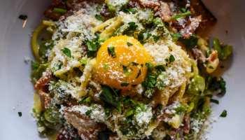 The Spaghetti carbonara at Brother's Public Kitchen in Orinda.