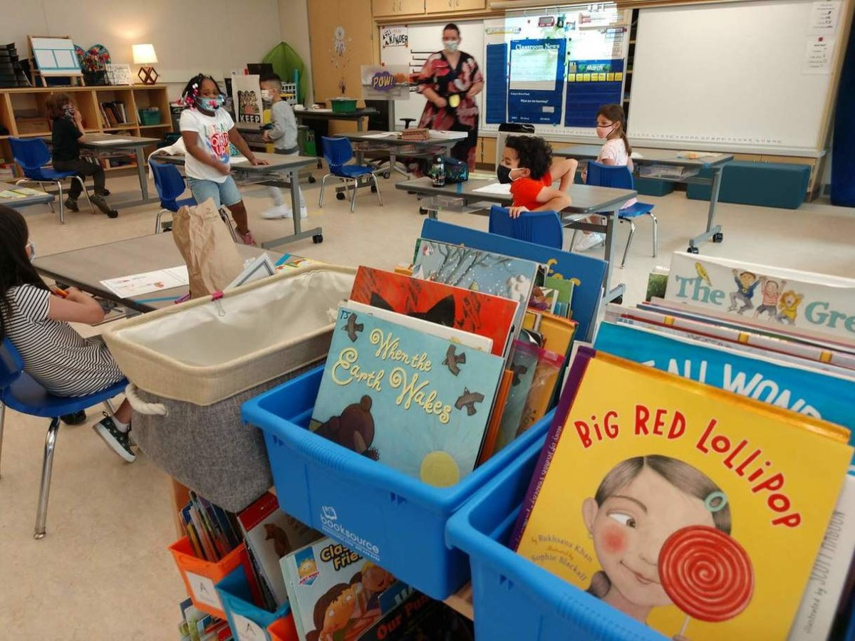 books and cubbies in classroom