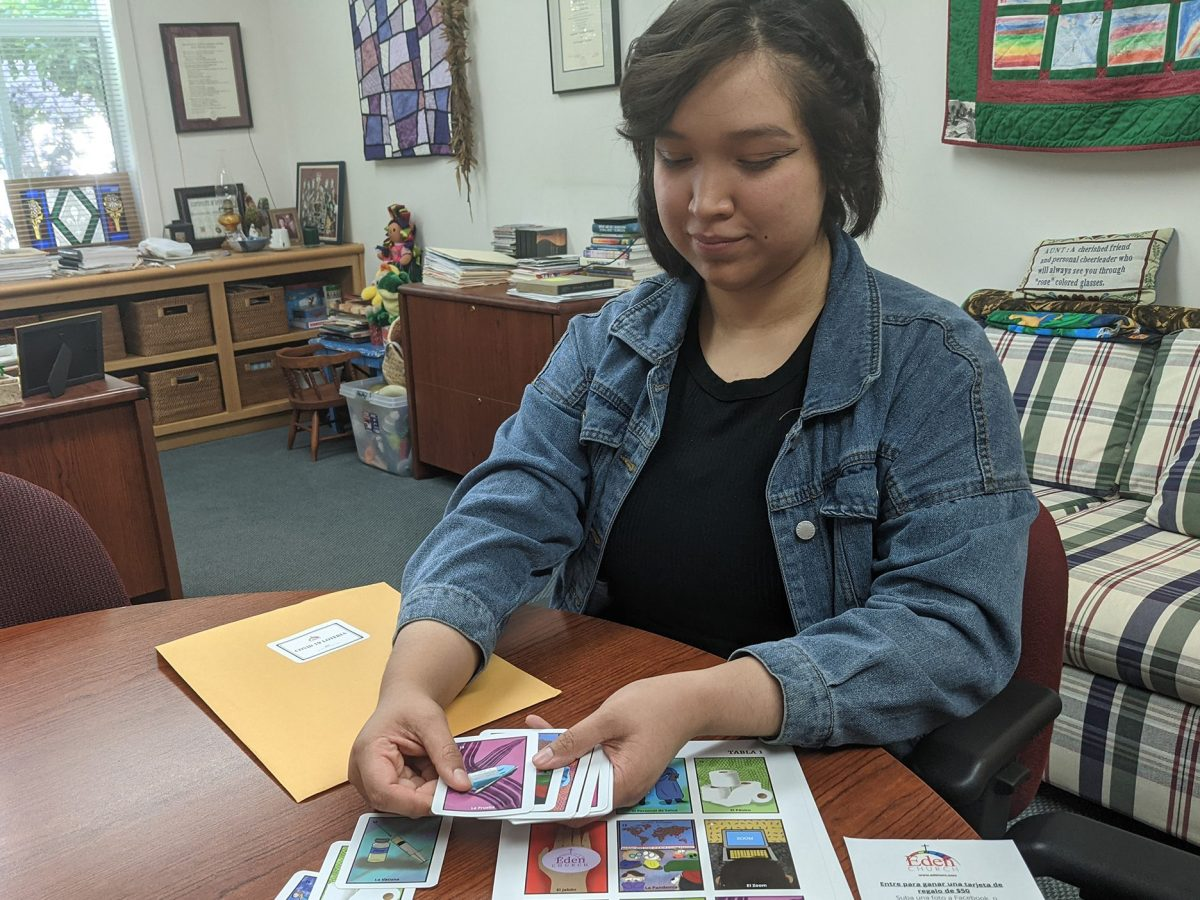 Karen Roxana Victorio made the illustrations for a lotería card deck that Eden United Church of Christ in Hayward is using to increase awareness among its parishioners about the importance of the COVID-19 vaccine.