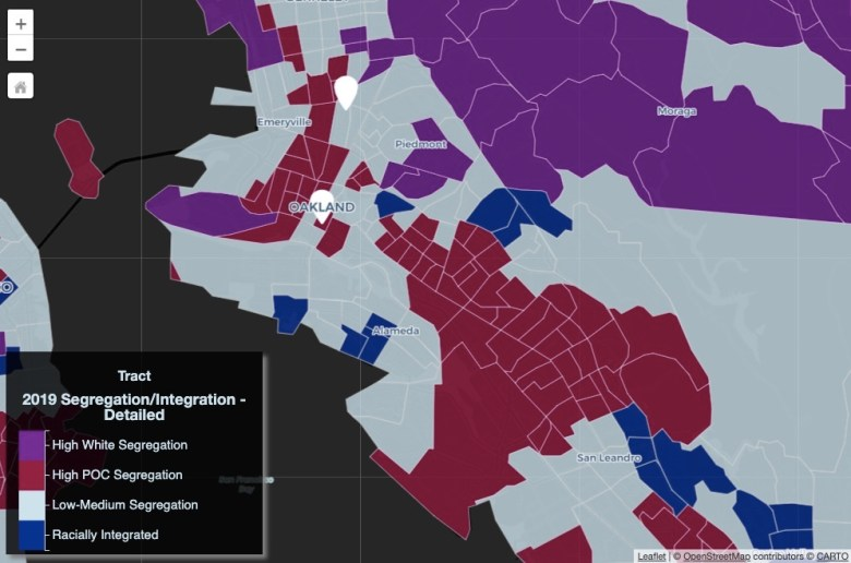 """A color-coded map shows Oakland and surrounding areas, revealing segregation rates. Most of Oakland is coded """"high POC segregation,"""" while some chunks are labeled """"low-medium segregation."""""""