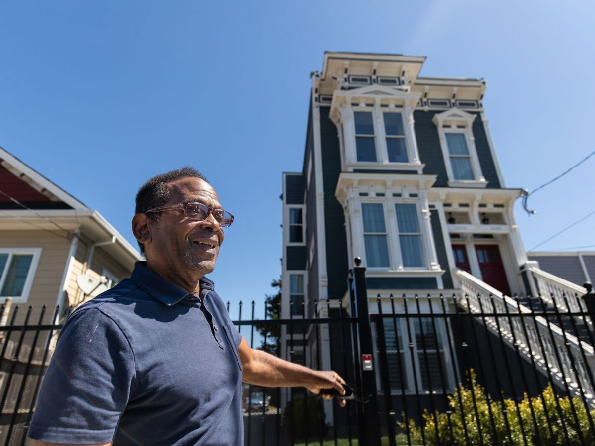 Bruce Loughridge moved this Victorian home from Chinatown to West Oakland and restored it, which is now being rented.