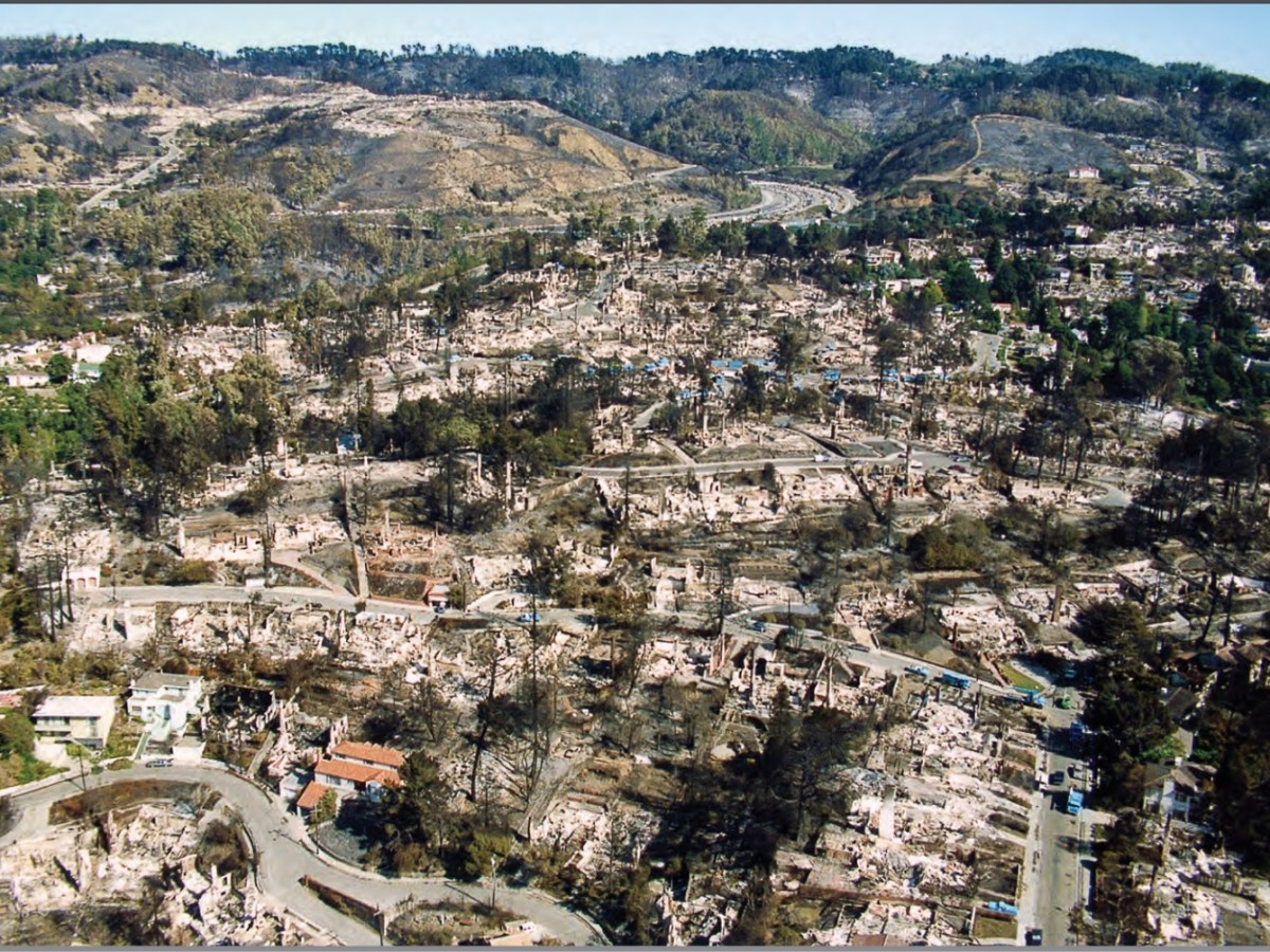 An aerial photo showing damage to the Oakland Hills following the 1991 firestorm