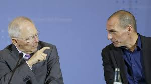 Yanis Varoufakis (r) and his former counterpart, German Finance Minister Schauble. No love lost between these two.