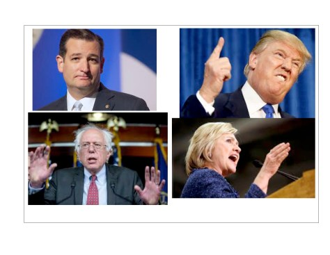"""The four leading candidates, clockwise from top left: the """"glib moralist"""", the """"bigoted braggart"""", the """"compulsive liar"""" and the """"Sixties radical"""". For different reasons, none of them is acceptable to Corporate America."""