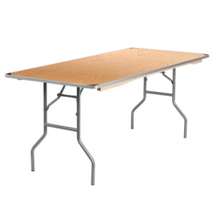8u0027 rectangular wood folding banquet table