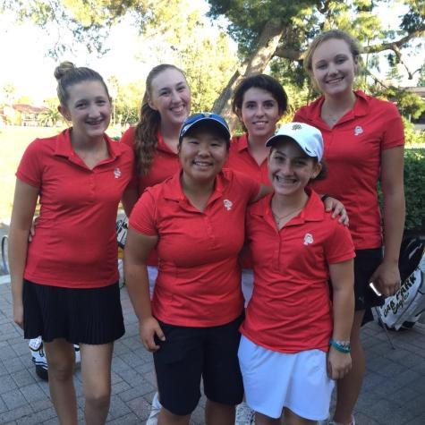 The Girls' golf team celebrates a win for their first league game against Royal High School on Thursday, Sept. 3 (Surica Segal/Talon).