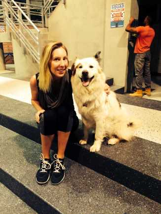 """Edwards with the dog from """"Dog with a Blog"""""""