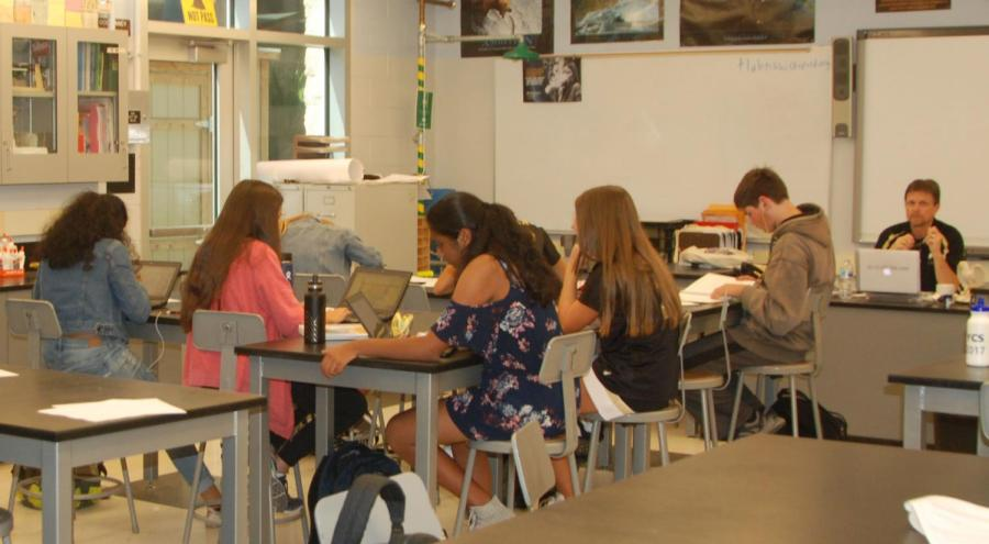 Freshmen students' in their science class.