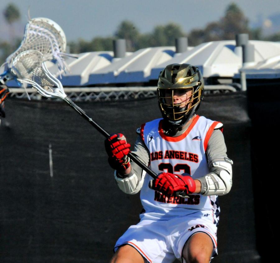 Tyler Bradbury playing lacrosse