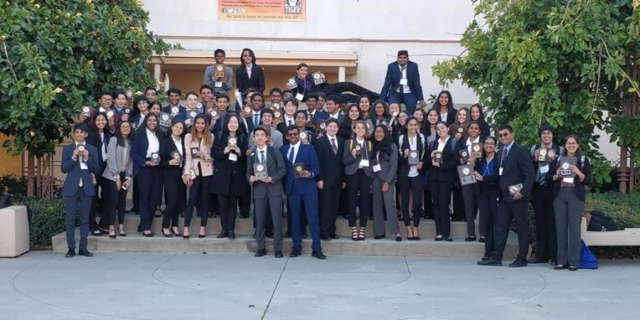 The+members+of+FBLA+gather+after+competition+where+they+placed+second.