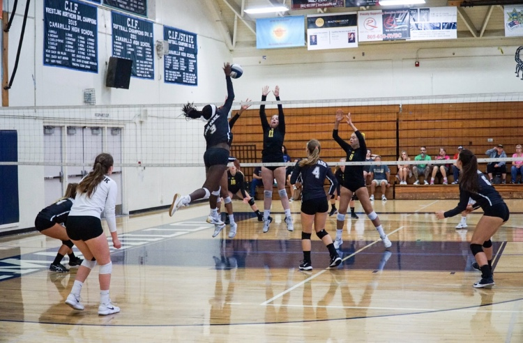 Girls+volleyball+team+plays+Camarillo+in+the+Adolfo+Camarillo+High+School+gym.+Currently%2C+the+beach+volleyball+team+practices+at+Bowfield+Park%2C+though+Bilbruck+is+working+to+find+new+locations+for+next+year.
