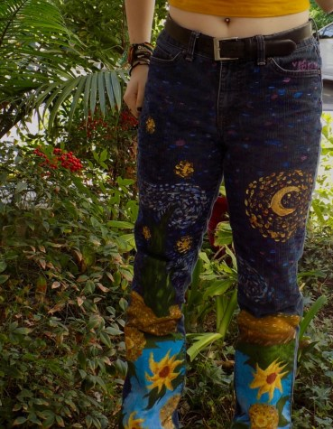 Senior Lily Graeff, inspired by Vincent Van Gogh, painted her jeans based off of three of his famous paintings: